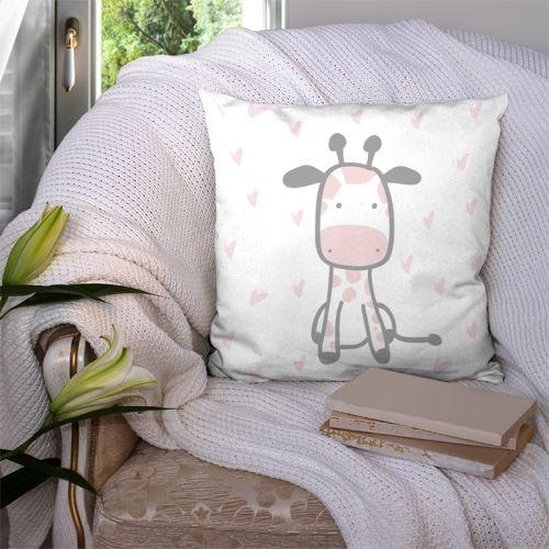 Coupon 45x45 cm motif baby rose et gris