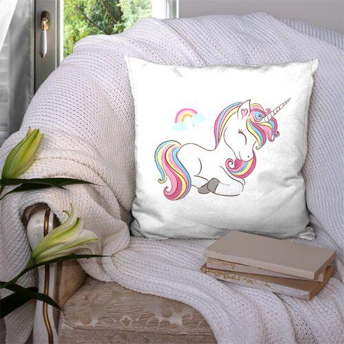 Coupon 45x45 cm motif licorne arc-en-ciel