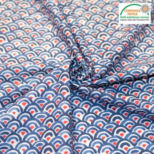 Coton écru motif demi-cercle bleu et rouge