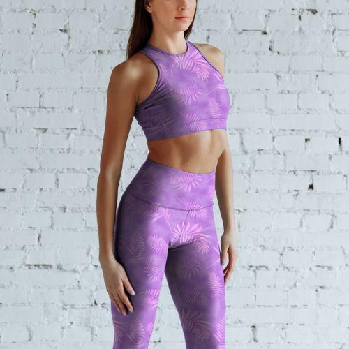 Tie and dye et palme effet aquarelle - Fond violet