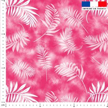Tie and dye et palme effet aquarelle - Fond rose