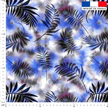 Tie and dye et palme effet aquarelle - Fond bleu et gris