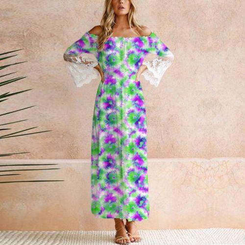 Tie and dye effet aquarelle - Fond violet et vert