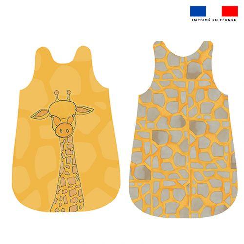 Coupon velours d'habillement pour gigoteuse motif girafe jaune - Création Anne Clmt
