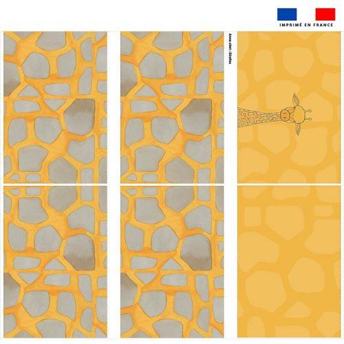Coupon velours d'habillement pour tour de lit motif girafe jaune - Création Anne Clmt