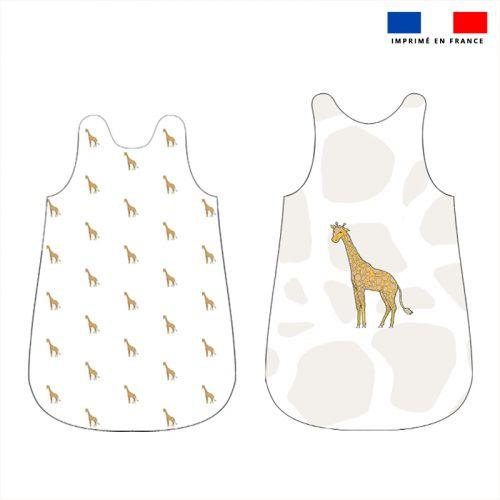 Coupon velours d'habillement pour gigoteuse motif girafe blanche - Création Anne Clmt