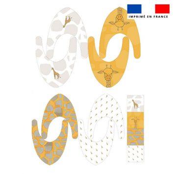 Coupon éponge bavoirs bandana motif girafe - Création Anne Clmt