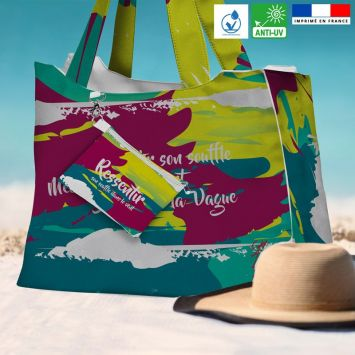 Kit sac de plage imperméable motif Ressentir - King size - Création Chaylart