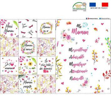 Coupon microfibre pour lingettes lavables motif Maman Oeko-tex