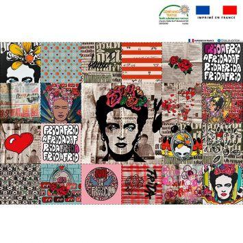 Coupon microfibre pour lingettes lavables motif femme mexicaine Oeko-tex - Création Anne-Sophie Dozoul