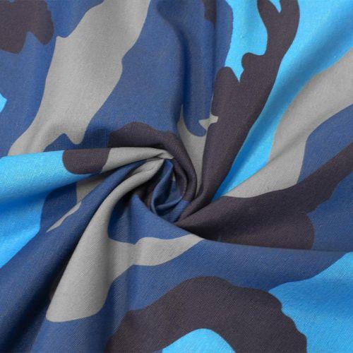 Toile polycoton grande largeur imprimée camouflage bleu Oeko-tex