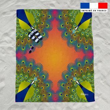 Coupon éponge pour serviette de plage double motif paon rêve d'été - Création Lita Blanc