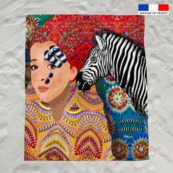 Coupon éponge pour serviette de plage double motif diva et zèbre - Création Lita Blanc