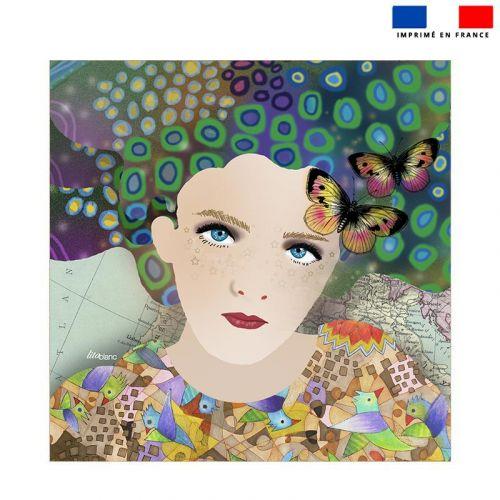 Coupon éponge pour serviette de plage double motif diva et papillons - Création Lita Blanc