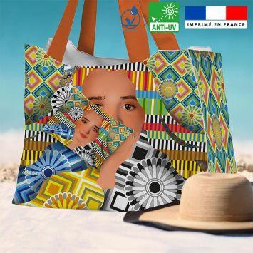 Kit sac de plage imperméable motif diva et rosaces - King size - Création Lita Blanc