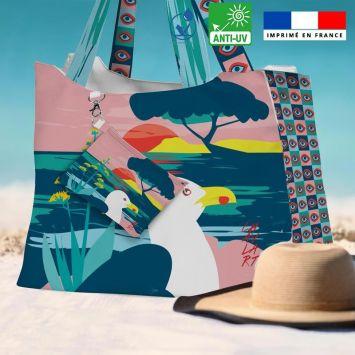 Kit sac de plage imperméable motif mouette - Queen size - Création Chaylart