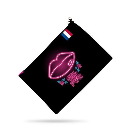 Kit pochette motif girl power effet néon rose