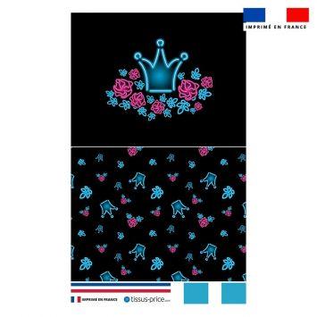 Kit pochette motif rose et couronne effet néon bleu