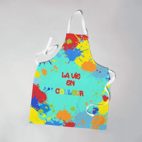 Patron imprimé sur canvas pour tablier turquoise motif peinture