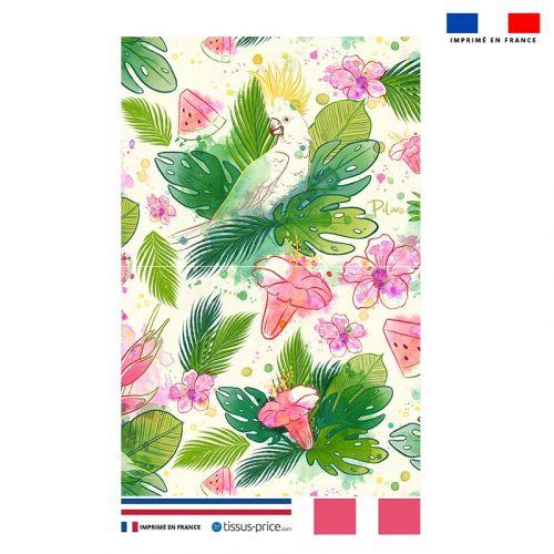 Kit pochette motif pastèque et feuille exotique - Création Pilar Berrio