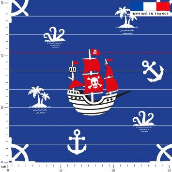 Bateau de pirate - Fond bleu