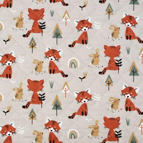 coupon - Coupon 41cm - Tissu matelassé enfant grège réversible motif renard et lapin padwan Oeko-tex