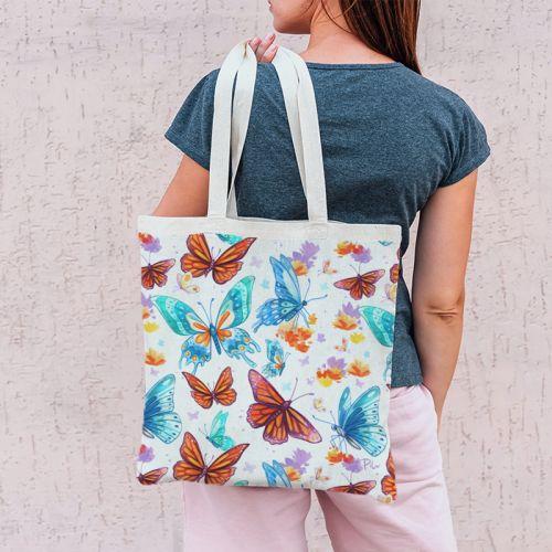 Coupon 45x45 cm motif papillons - Création Pilar Berrio