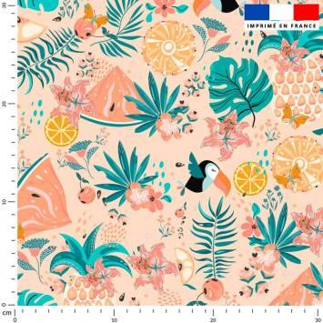 coupon - Coupon 90cm - Toucan et pastèque tropicale - Fond rose - Maille scuba 233 gr/m² - 150 cm