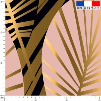 coupon - Coupon 280cm - Feuilles art déco noir et or - Fond rose - Velours 294 gr/m² - 150 cm