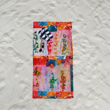 Coupon éponge pour serviette de plage simple motif silhouettes - Création Anne Gillard