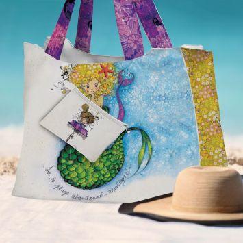 Kit sac de plage imperméable motif sirène - King size - Création Audrey Baudo