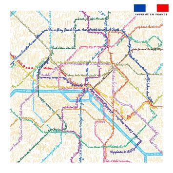 Coupon 45x45 cm motif métro - Création Lou Picault