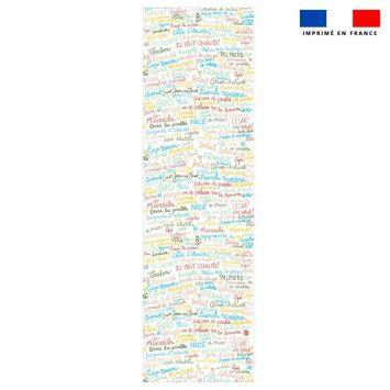 Coupon 45x150 cm tissu imperméable motif Il fait chaud pour transat - Création Lou Picault