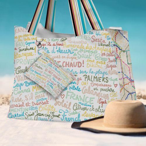 Kit sac de plage imperméable motif Il fait chaud - King size - Création Lou Picault
