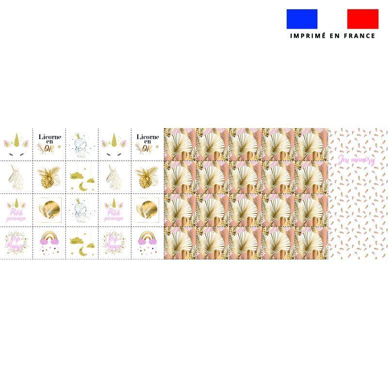 Patron imprimé pour jeu memory motif licorne