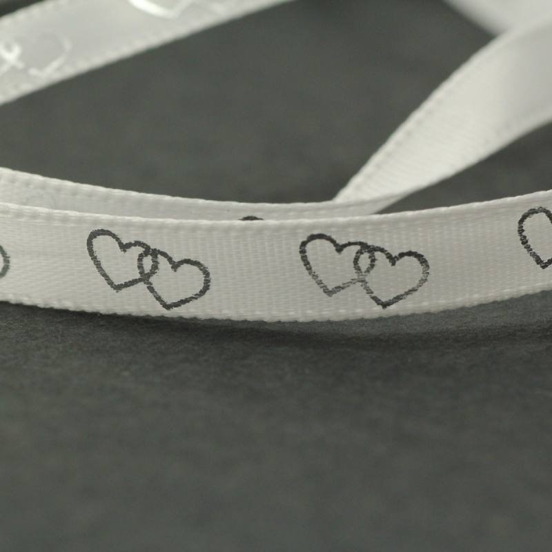 """Ruban fantaisie """"coeurs enlacés"""" blanc 6 mm"""