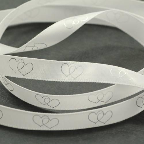 """Ruban fantaisie """"coeurs enlacés"""" blanc 10 mm"""