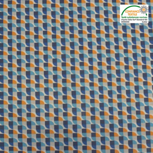 Coton bleu motif géométrique joplin Oeko-tex