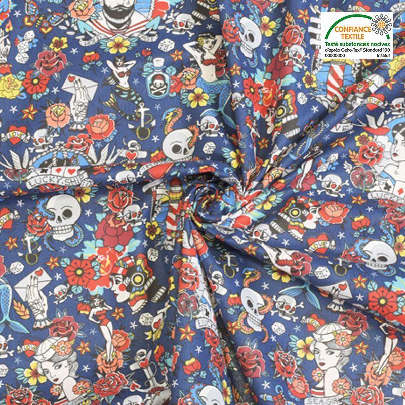 Coton bleu motif tête de mort et pin-up Oeko-tex
