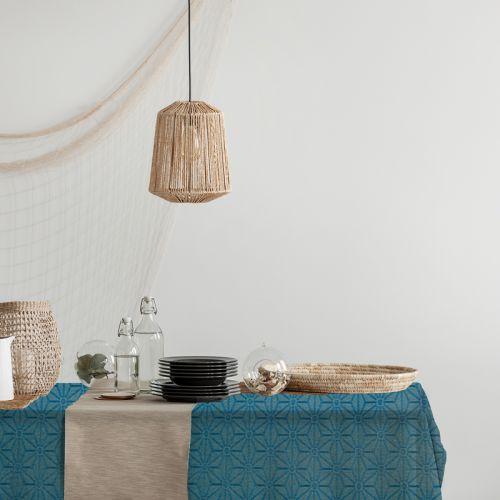 Toile polycoton motif asanoha bleu Oeko tex enduite