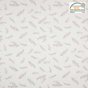 Jersey coton blanc imprimé feuilles Oeko-tex