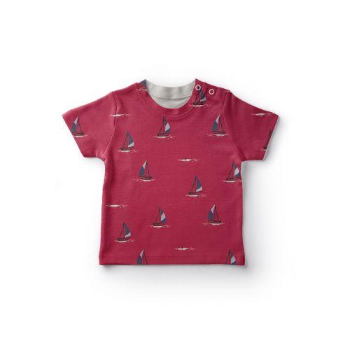 Jersey coton rouge imprimé bateau à voiles Oeko-tex