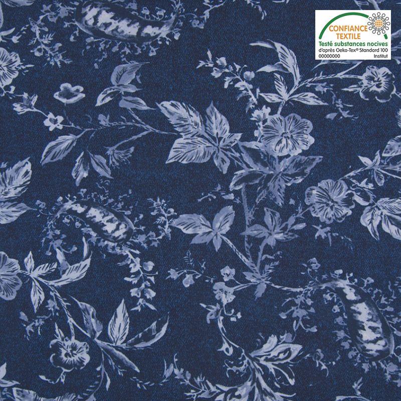 Tissu viscose motif fleuri bleu