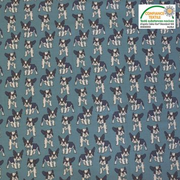 Jersey coton bleu motif chien Oeko-tex