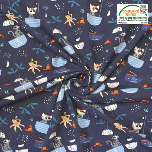 Jersey coton bleu marine imprimé animaux pirates Oeko-tex