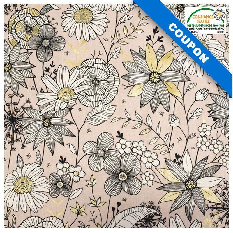 Coupon 50x68 cm - Toile coton rose imprimée fleurs blanches et dorées Oeko tex