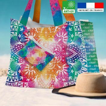 Kit sac de plage imperméable motif mandala - King size