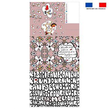 Patron imprimé pour protège carnet de santé motif poème rose - Création Anne-Sophie Dozoul