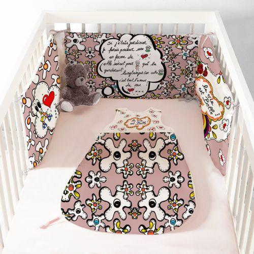 Coupon velours d'habillement pour gigoteuse motif poème rose - Création Anne-Sophie Dozoul