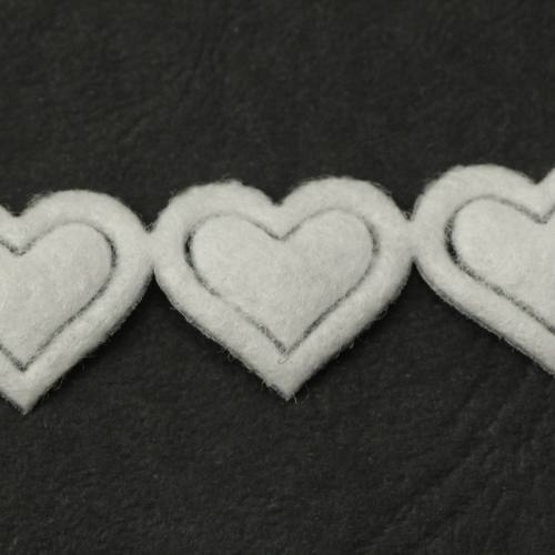 Galon fantaisie thermocollant coeur blanc